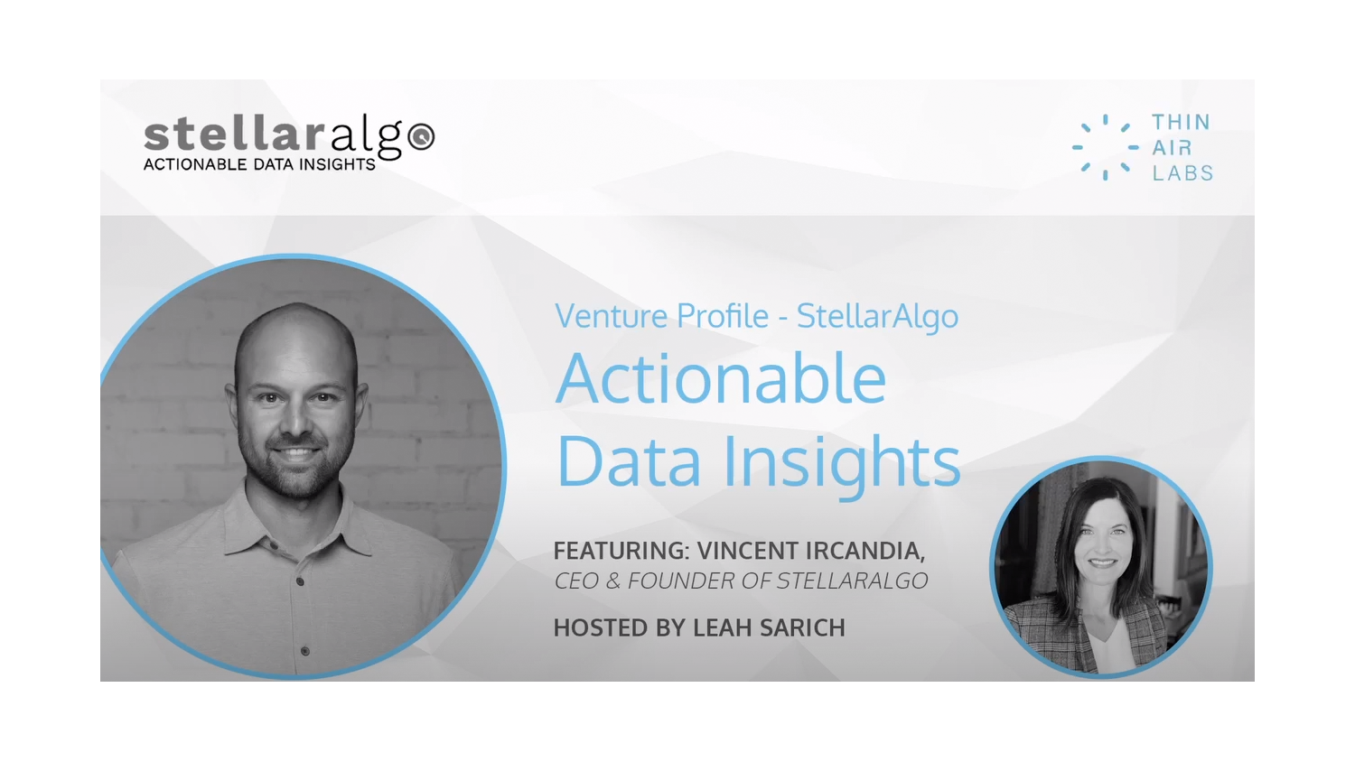WATCH: Venture profile featuring StellarAlgo founder and CEO, Vincent Ircandia